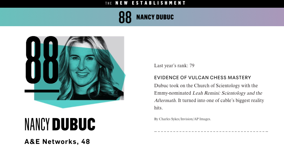 Nancy Dubuc '87 Featured in Vanity Fair's 2017 New Establishment List