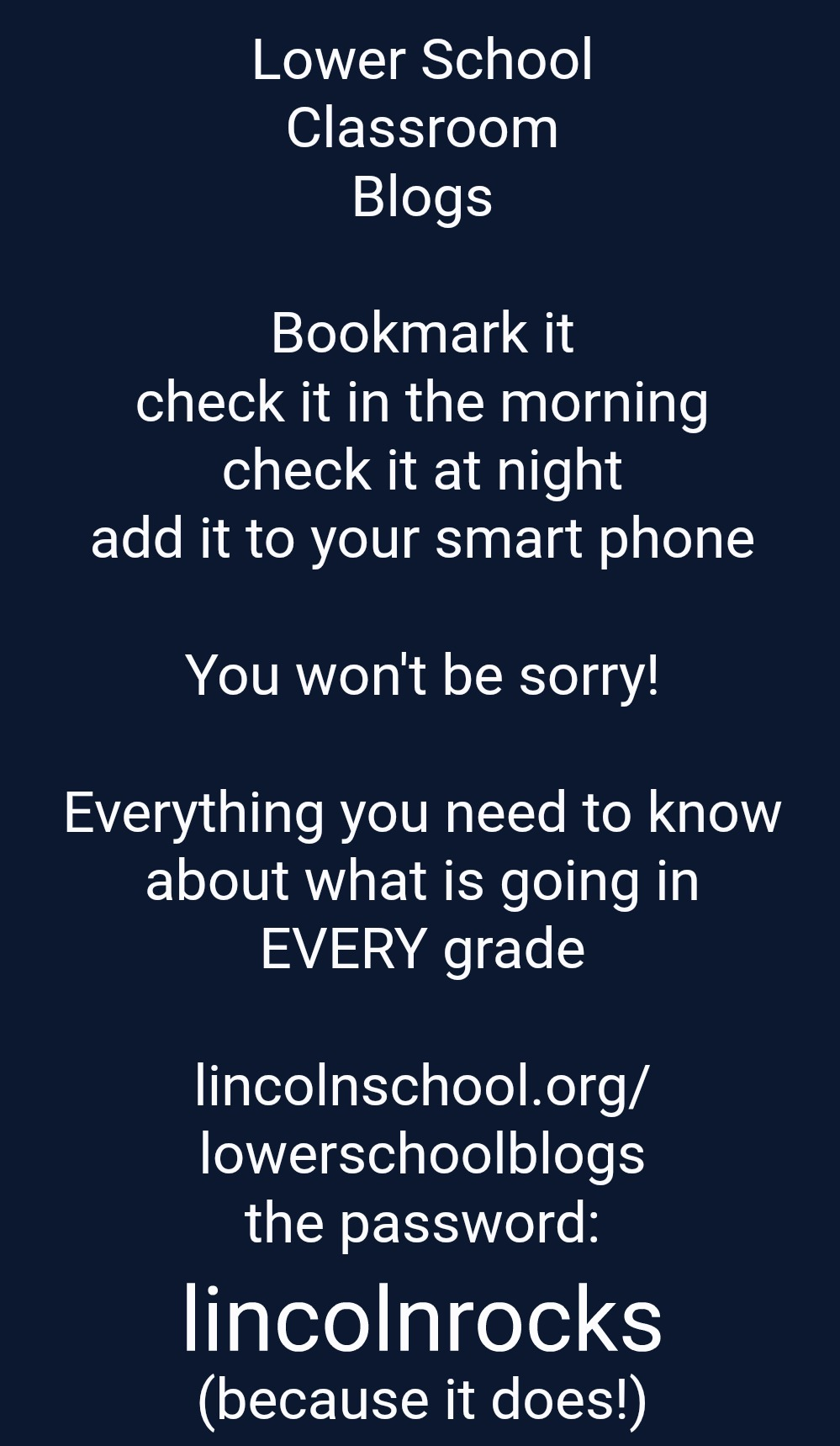 Lower School Classroom Blogs | Everything that is going on in every grade | Password: lincolnrocks