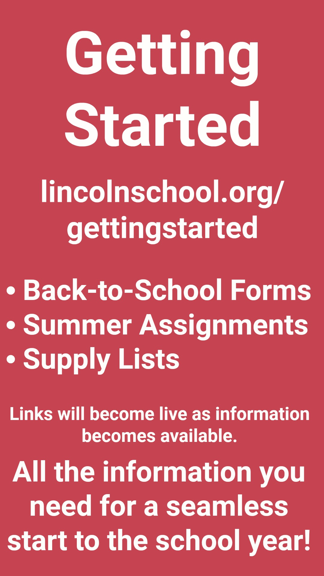 Getting Started | All of the information you need for a seamless start to the 2018–2019 School Year | Links will become live when information becomes available